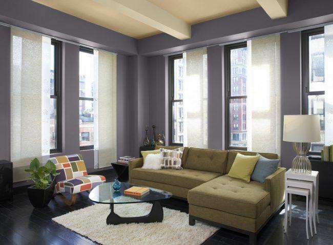 Zimmer Streichen Ideen Lila Wandfarbe Sofa Beige Couchtisch