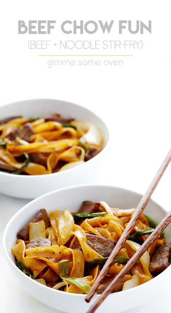 Learn how to make traditional Beef Chow Fun (aka Beef & Noodles Stir-Fry) with this quick, easy, and delicious recipe. | gimmesomeoven.com