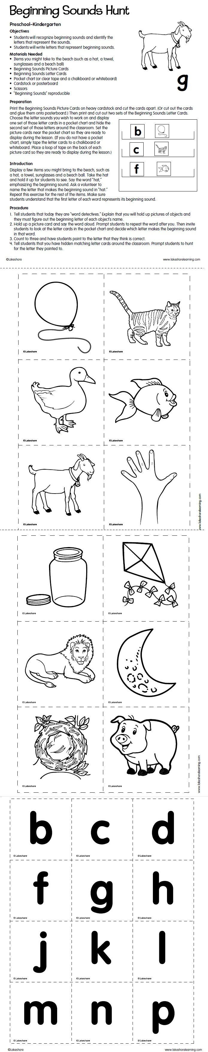 Worksheet Kindergarten Beginning Sounds 1000 images about beginning sounds on pinterest hunt lesson plan from lakeshore learning
