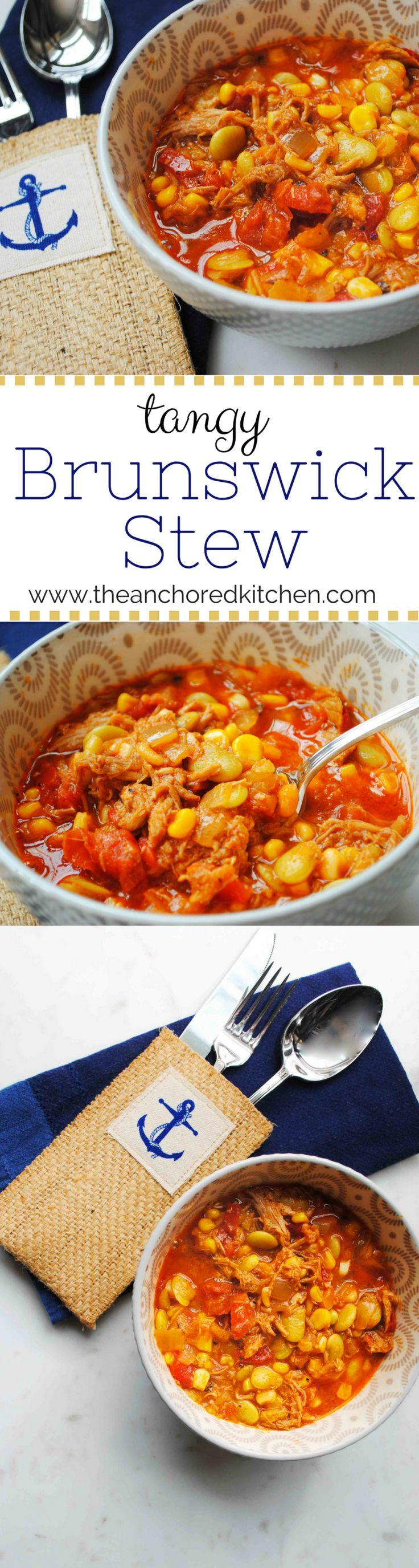 Tangy Brunswick Stew - The Anchored Kitchen #brunswickstew #coastalgeorgiarecipes #pulledporkrecipe #southernfood #onepotmeal