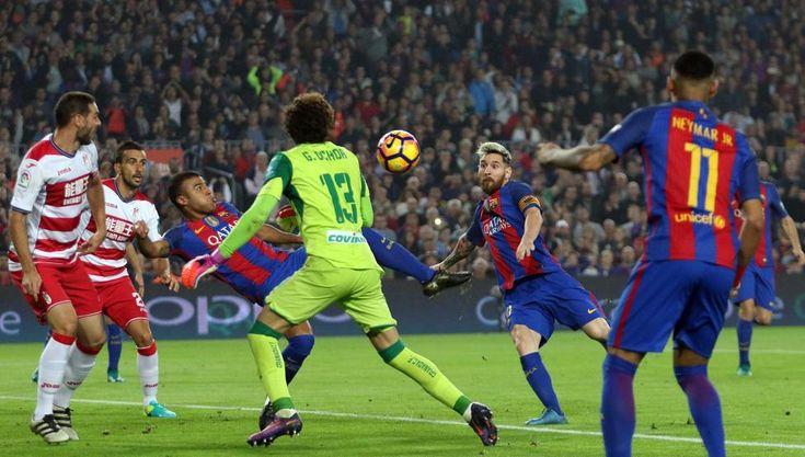 Futbol Liga. FC Barcelona-Granada. Gol de Rafinha 1-0.