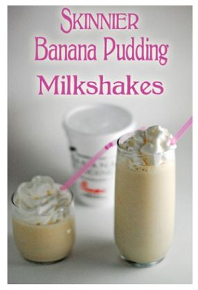Skinnier Banana Pudding Milkshakes  2 ripe bananas, mashed  3 cups fat-free vanilla ice cream  1 Tbs. banana cream instant pudding mix  1/2 cup milk  8 vanilla wafer cookies, crushed to fine crumbs  Place all ingredients in blender and mix.  Makes 2 servings (12 oz each).