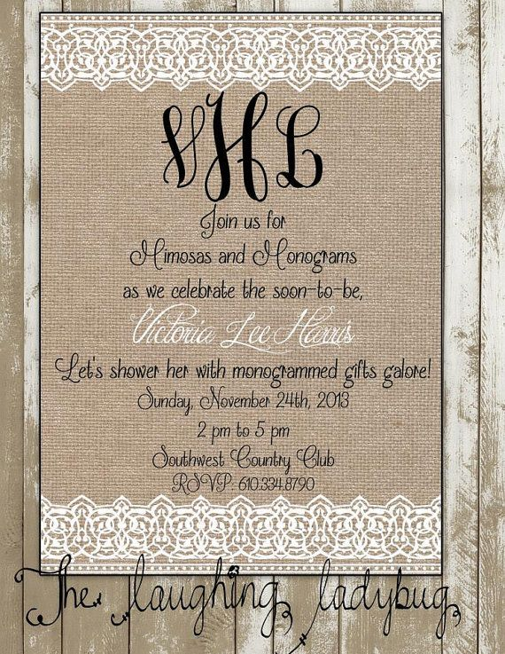 bridal shower wedding shower invitation burlap and lace monogram shower rehearsal dinner invitation on etsy 1500 wedding shower bachlorette ideas