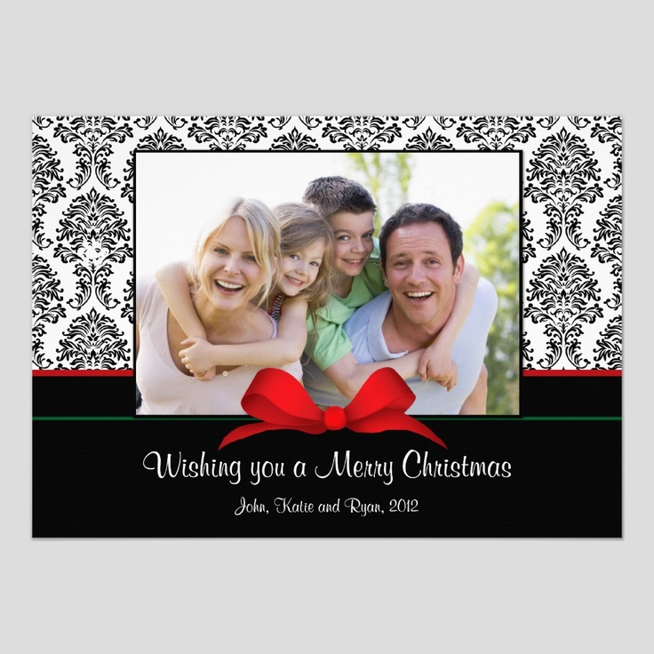 Black Damask Christmas Card with Bow Parenting