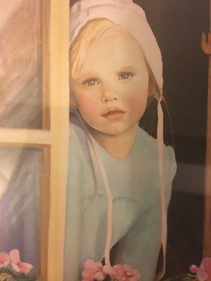 NANCY NOEL PRINT  AMISH GIRL  Pink Impatiences PRINT  | eBay