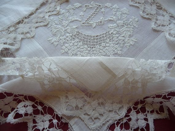 BEAUTIFUL FRENCH BRIDAL hankerchief antique by vintagefrenchstyle