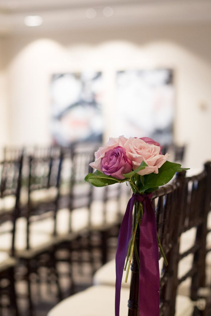 Violet and pink rose aisle markers with black and white chiavari chairs (Shay and Olive)