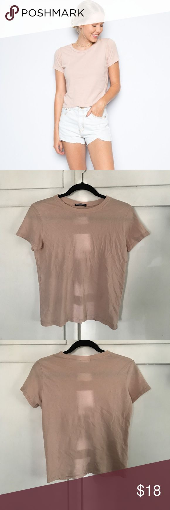 Brandy Melville Baby Pink Tee Never worn, looks cute with jeans or shorts Brandy Melville Tops Tees - Long Sleeve