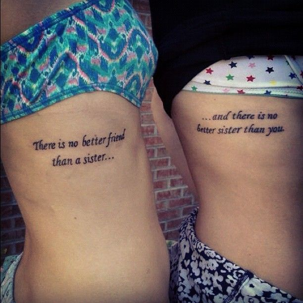 Cute Sister Tattoo Quotes on Rib - Matching Tattoos