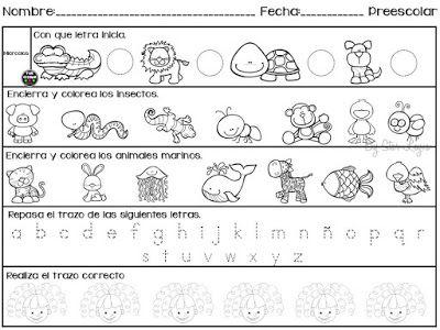 5 Hojas de trabajo para preescolar. ~ Educación Preescolar