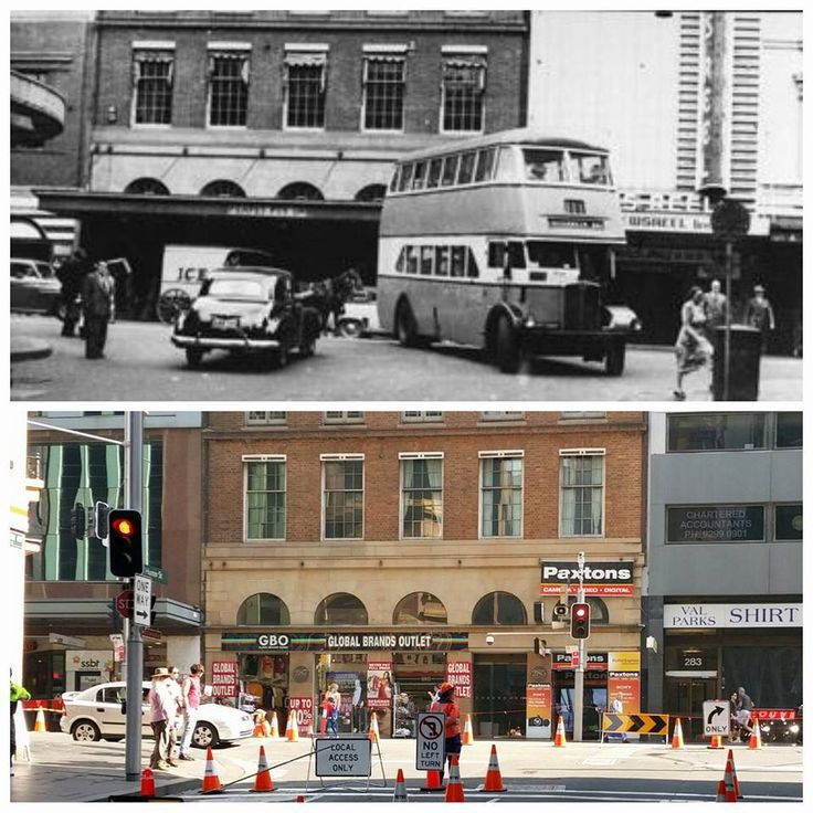 The intersection of George & Hunter Streets 1956 > 2016 [City of Sydney Archives > Allan Hawley. By Allan Hawley]