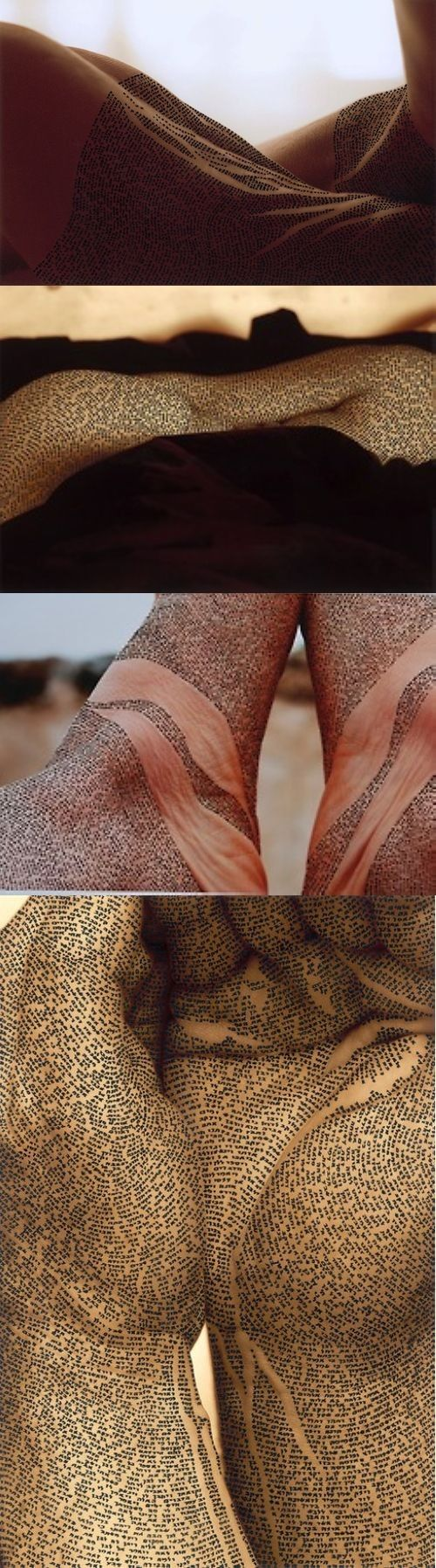 """Bodyscapes  """"Israeli artist Ronit Bigal meticulously presents excerpts from…"""