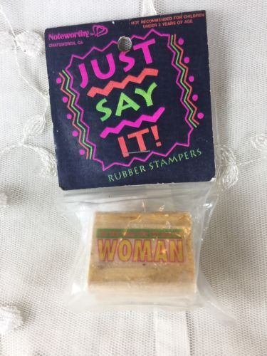 The-Best-Man-For-The-Job-Is-A-Woman-Humorous-Rubber-Stamp-Leadership1992-New-Vtg