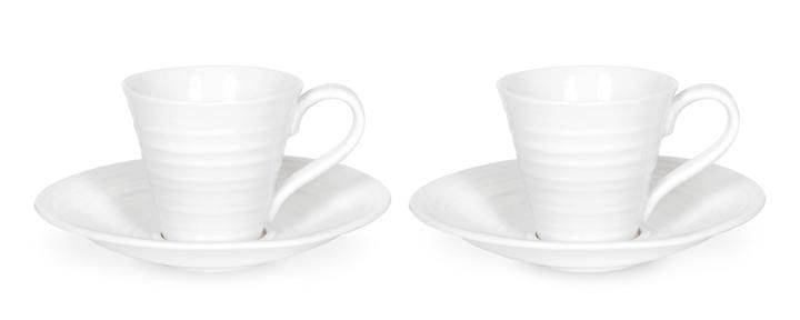 Sophie Conran for Portmeirion White Espresso Cup & Saucer Set of 2: beautiful for coffees as well as showcasing pretty little desserts at a dinner party. 0.08L (3oz) Product Code: CPW76842.  Call 905·885·9250.