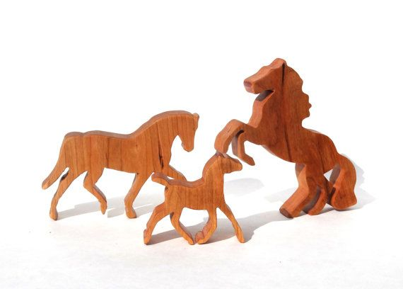 Wooden Toy Horse Set /Horse Family Set / by RockingwoodBuddies