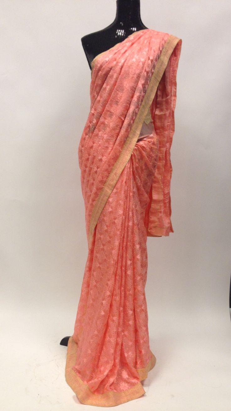 Phulkari embroidery on chiffon Saree - Peach