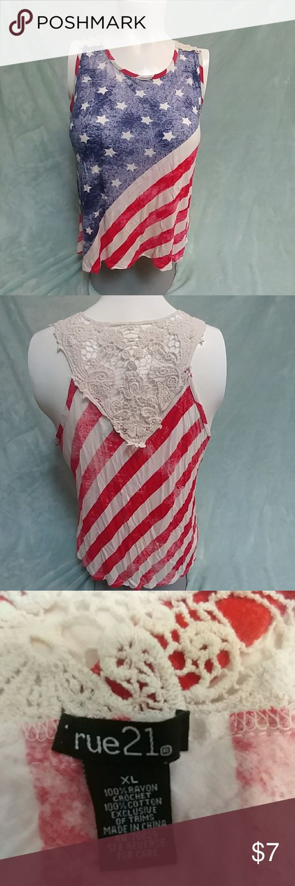 Patriotic tank Cute 4th or any other occasion tank top with lace neckline on the back..comes from a pet and smoke free home Rue 21 Tops Tank Tops