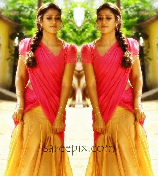 "Actress Nayanatara beautiful half saree photo from tamil movie ""Thirunaal"". The 30-years old heroine looks cute in half saree with puff sleeve blouse."