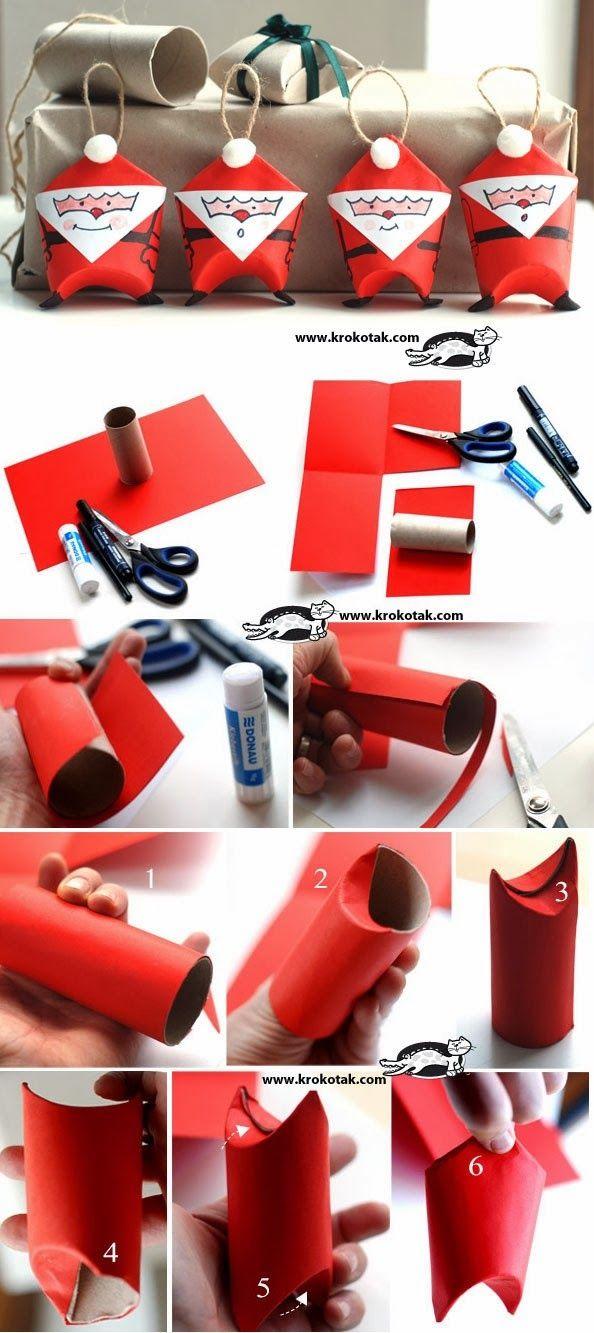 Aun estáis a tiempo de hacer estos Papa Noëles para decorar vuestra casa o vuestro árbol de Navidad Y además reciclando rollos de papel higiénico Os dejo el enlace completo: http://krokotak.com/2012/
