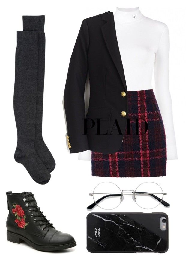 """""""Plaid outfit"""" by trishsa on Polyvore featuring Calvin Klein 205W39NYC, Oasis, EyeBuyDirect.com, FABIANA FILIPPI, J.Crew and Madden Girl"""