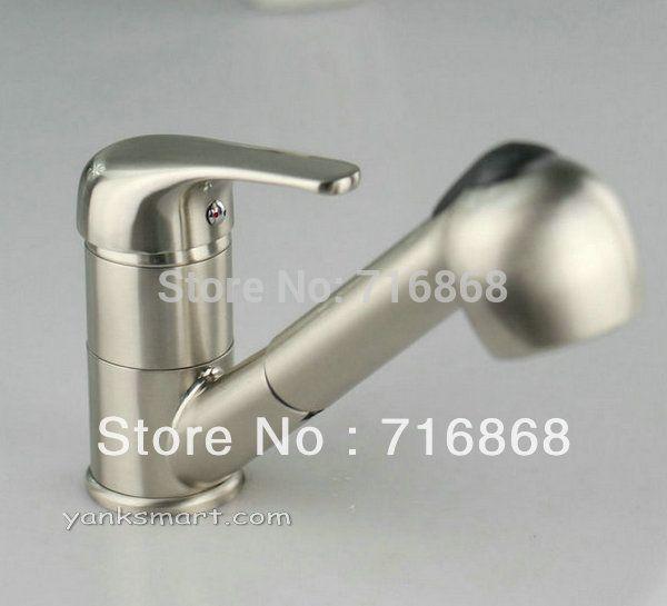 N-045 Современный стиль кран на бортике никель щеткой вытащить кухонный & ванной бассейна раковина Смеситель Кран