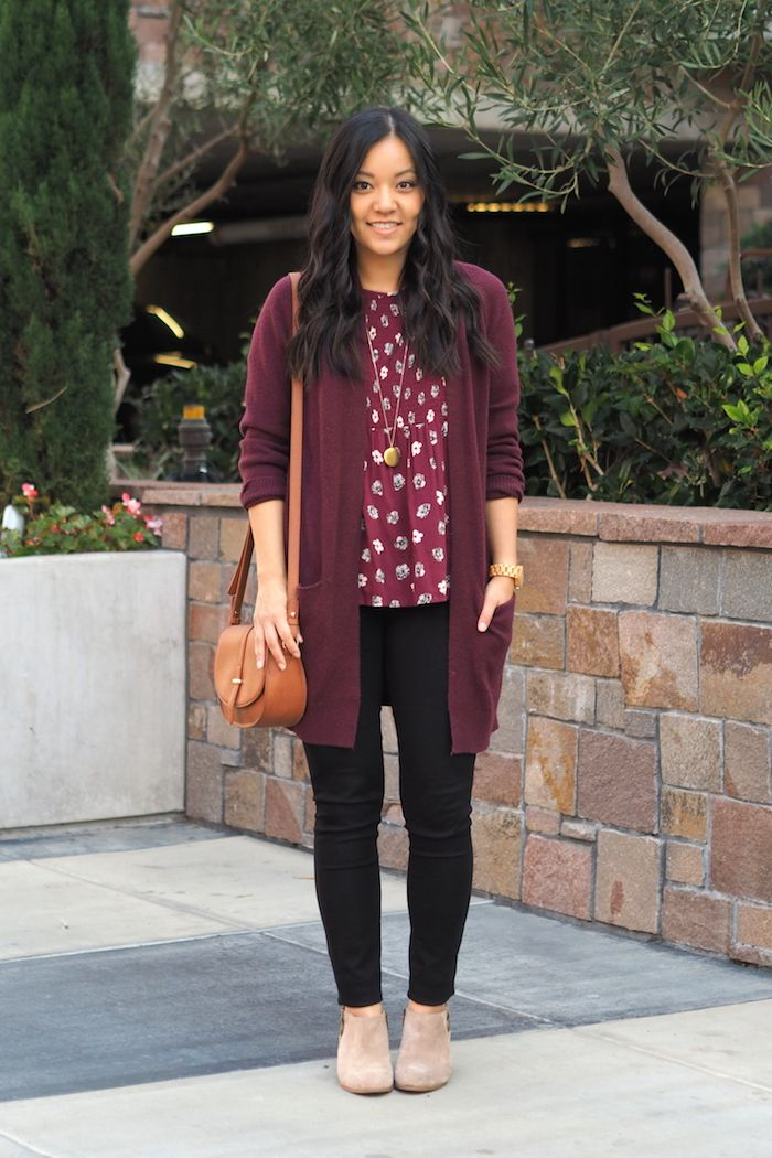 Maroon Cardigan + Printed Blouse + Black Jeans + Taupe Booties 4a1ad819f