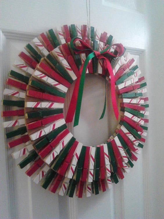 Christmas Clothespin Wreath Red/Green/White by ...