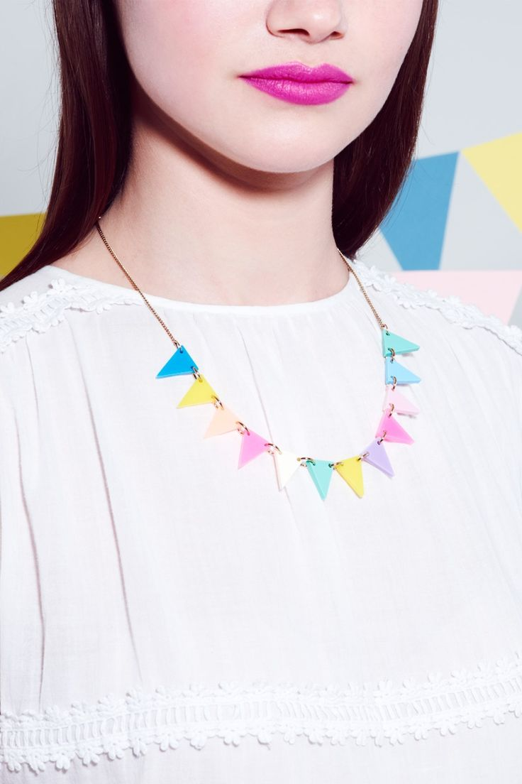 Tatty Devine   Bunting Necklace - fluoro lite  