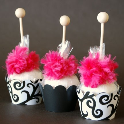 Cake pops display - hot pink, black and white