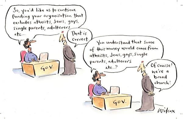 In response to Australian government excusing churches for anti-discrimination legislation