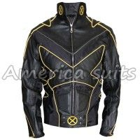X-Men 3 The Last Stand Wolverine Motorcycle fashion leather jacket  Everything about this wolverine costume is refined, from the combination of black and yellow