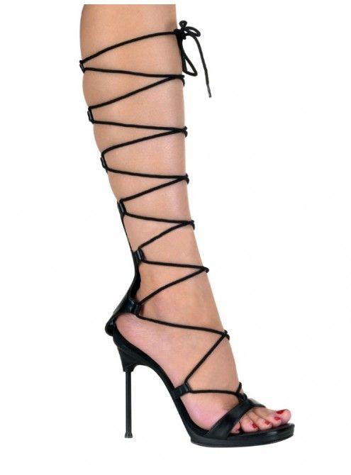 Chaussures Pleaser - Sandales Spartiates noires à talon aiguille  #chaussures #escarpin #Talonhaut #spartiates #PleaserUSA #Paris #foxyladyparis