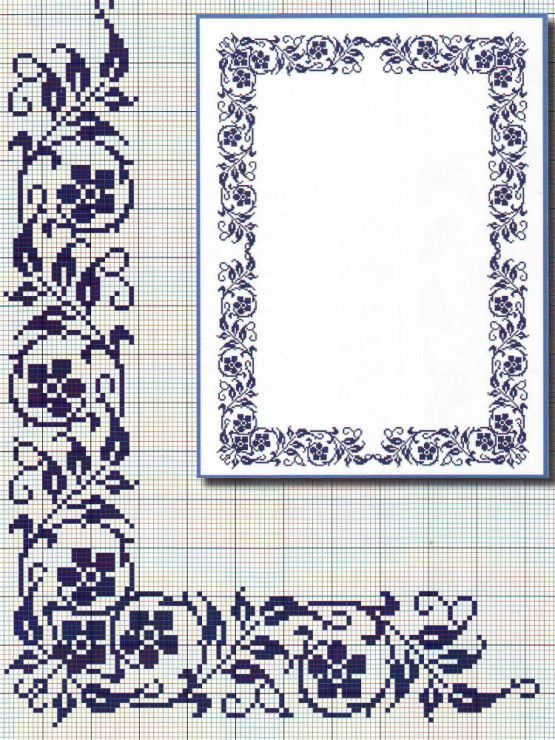 This lovely floral X-stitch border would look lovely in any colour combination...