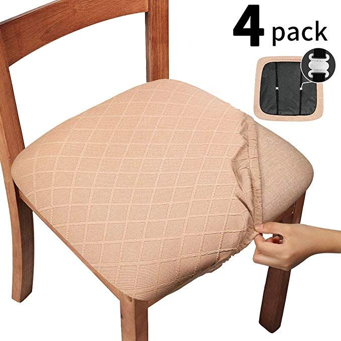 Gute Chair Seat Covers With Elastic Ties And Button Stretch Jacquard Dining Room Chair Upholstered Cushion Cover Removable Office Computer Chair Seat Protecto Upholstered Chairs Kitchen Chair Covers Seat Covers For