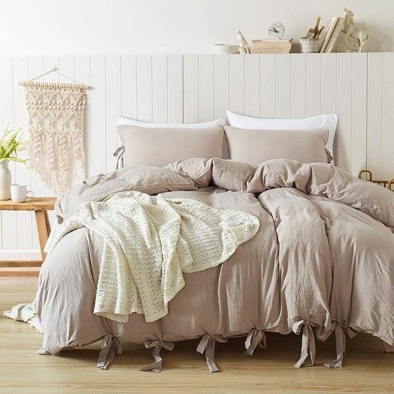 Linen Microfiber Duvet Cover Set With Ties Neutral Colors Etsy Duvet Cover Sets Relaxing Bedding Bedding Set