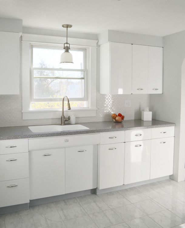 Hackel Construction Inc Remodeled This 1950 S Kitchen By Having The Geneva Brand Metal Cabi Metal Kitchen Cabinets Kitchen Cabinets Painted Grey Retro Kitchen