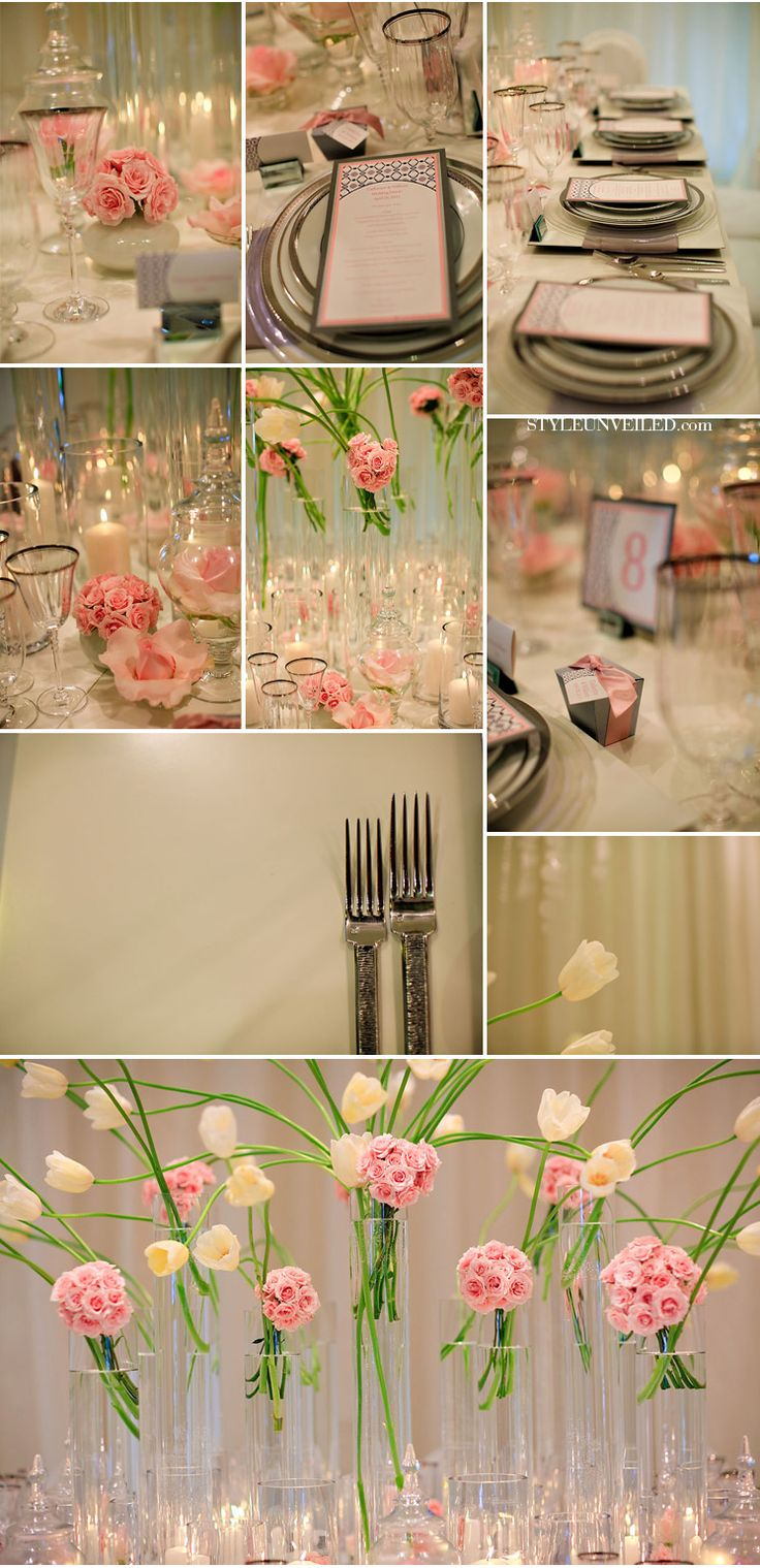 Color pallet - light pink, green gray and white can I really put pink in my kitchen?? Love!!! Gray table!