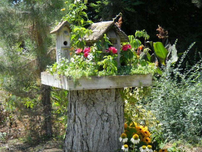 † wonderful way to display a birdhouse! I need a stump ... then a wooden box, planted with flowers and small plants, birdhouse nestled amongst them. Love it!