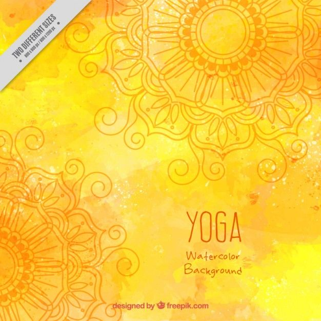 Yellow watercolor yoga background Free Vector