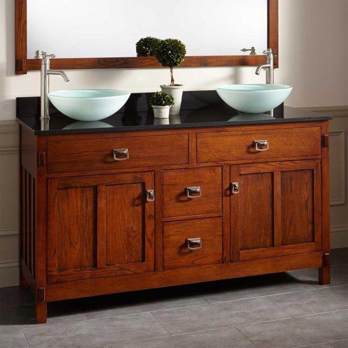 60 harington oak double vessel sink vanity master bath for Master vanity