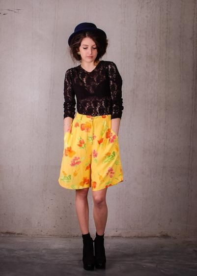 Round She Goes - Market Place - Floral A-line Short