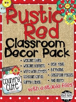 "This Rustic Red Classroom Decor Pack is a cute way to add a little bit of country flair to your classroom!  This decor pack features red with white polka dots, burlap, mason jars, buttons, and flowers for a lot of ""country cute"".  Check out the preview to see what is included!This pack is a zipped file containing: A PDF file with 38 pages of  Welcome signs, banners, word wall letters, schedule cards, supply labels, birthday poster, and hall passes - just print and go!"