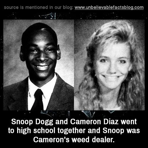"""unbelievable-facts: """"Snoop Dogg and Cameron Diaz went to high school together and Snoop was Cameron's weed dealer. """""""