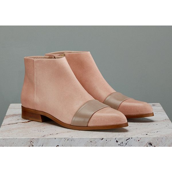 Finery London Hendrick Leather Flat Ankle Boots ($105) ❤ liked on Polyvore featuring shoes, boots, ankle booties, nude, pointed toe booties, flat boots, pointy toe ankle boots, flat ankle boots y flat booties
