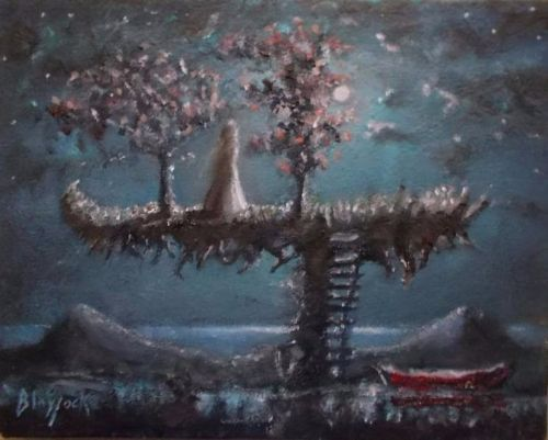 Tranquil Island Plateau Original Oil Painting By Johnny Lonzo Blaylock