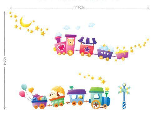 UfingoDecor Cartone Animato Trenino Adesivi Murali, Camera Dei Bambini Vivai Adesivi da Parete Removibili/Stickers Murali/Decorazione Murale: Amazon.it: Casa e cucina