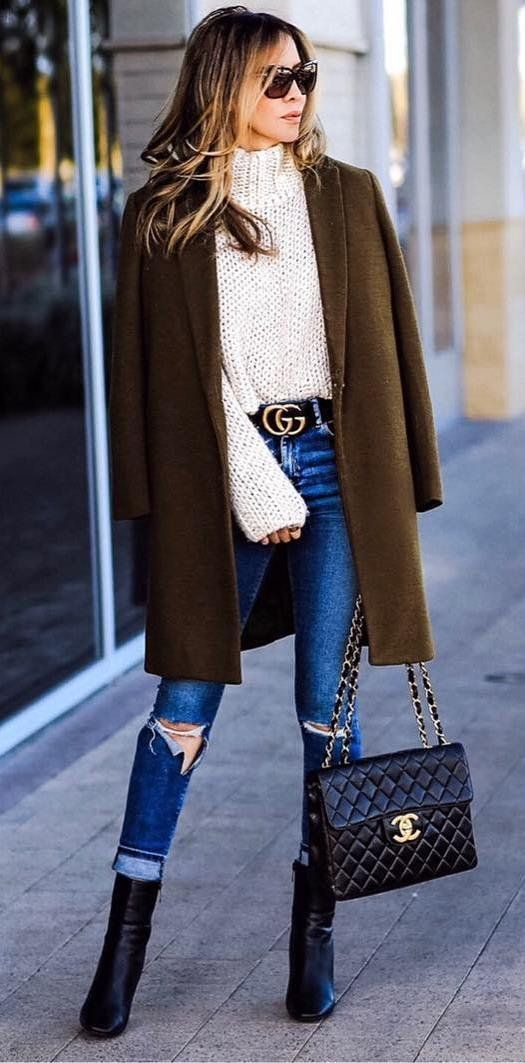 cool outfit coat + knit + bag + rips