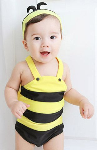 Baby Toddler Bee Swimsuit One Piece With Hat $19.99 CAD