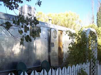 The Shady Dell: a Bisbee, Arizona institution at which you can rent fully refurbished Airstream trailers from the 50s which are all tricked out with records and tschotskes from the era. They also have a tiki bus and small yacht for rent as well. Last great perk: Dot's Diner, a 10-seat diner that was brought in on a trailer from CA.