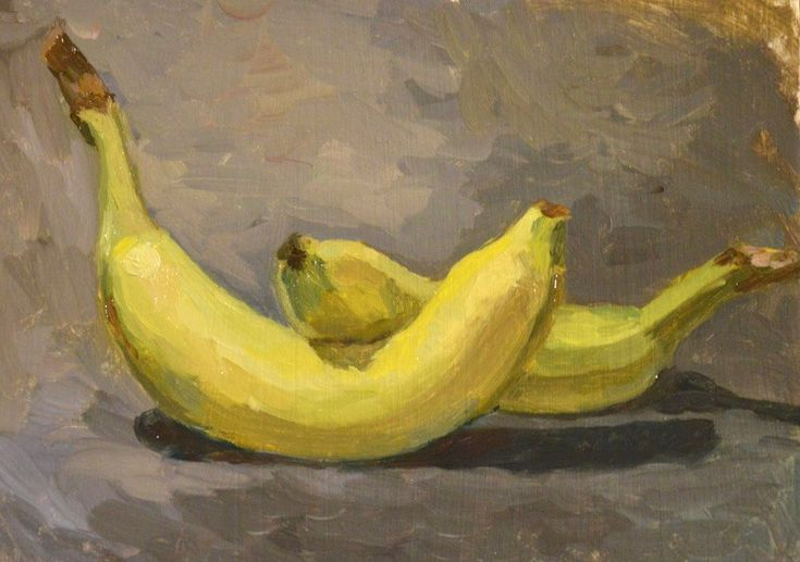 Bananas still life painting in oil by Victoria Duryagina. Every beginner painter start to learn painting with simple objects. It should be simple to draw, because the main idea of this type of exercise is a big attention to value and colour. #art #painting #stilllife #bananas